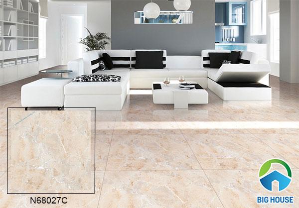 Mẫu gạch Ý Mỹ bóng kiếng vân đá màu hồng kem N68027C