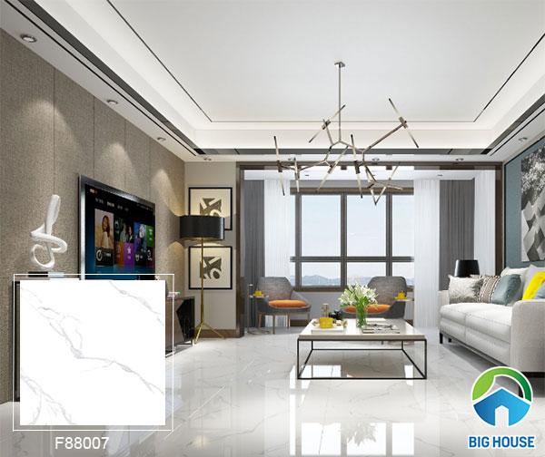 Mẫu gạch bóng kiếng màu trắng F88007 cho phòng khách thêm rộng rãi