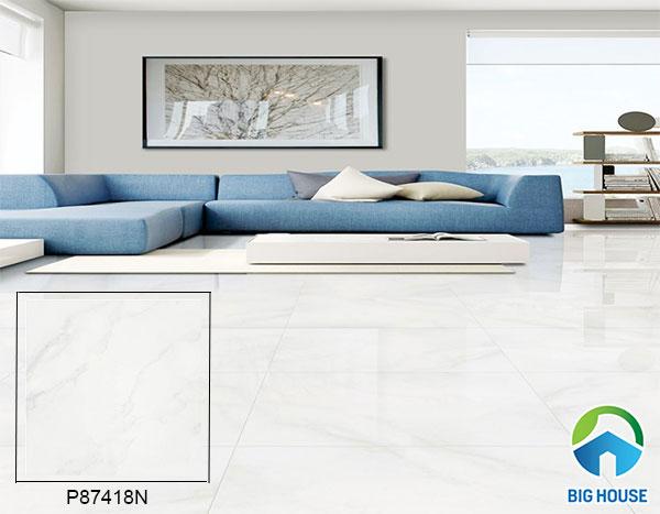mẫu gạch bóng kiếng màu trắng P87418N lát nền phòng khách