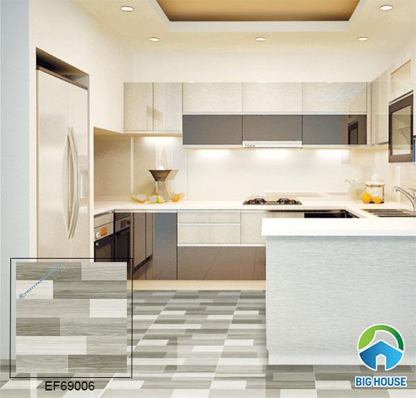 gạch lát nền vân gỗ Ý Mỹ EF69006 gam màu xám cho không gian phòng bếp