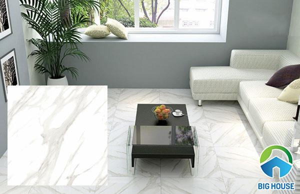 Mẫu gạch màu trắng lát nền 09676 có bề mặt nhẵn bóng
