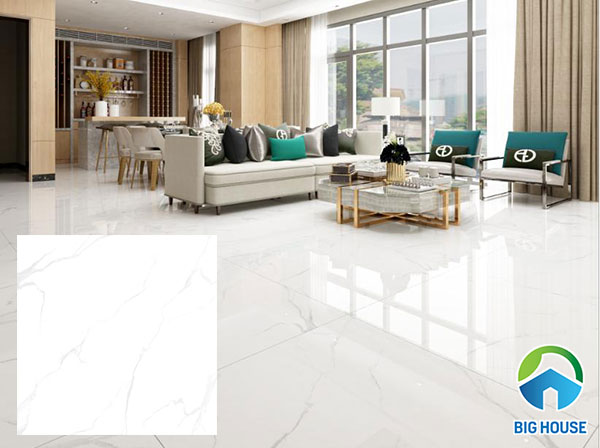 Mẫu gạch Vitto màu trắng 6201 lát nền phòng khách