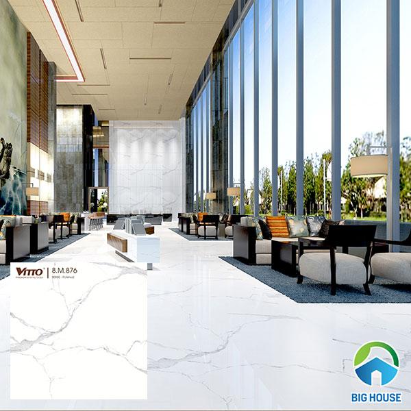 Mẫu gạch màu trắng Vitto 0876 lát nền cho không gian đại sảnh