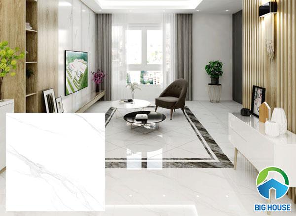 Gạch lát nền màu trắng TTC VN66009 bề mặt men bóng sang trọng