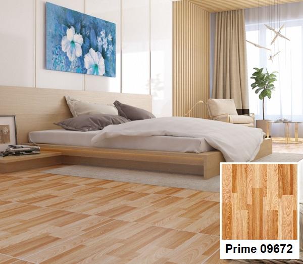 Mẫu gạch lát nền phòng ngủ gia gỗ ấm áp, sang trọng