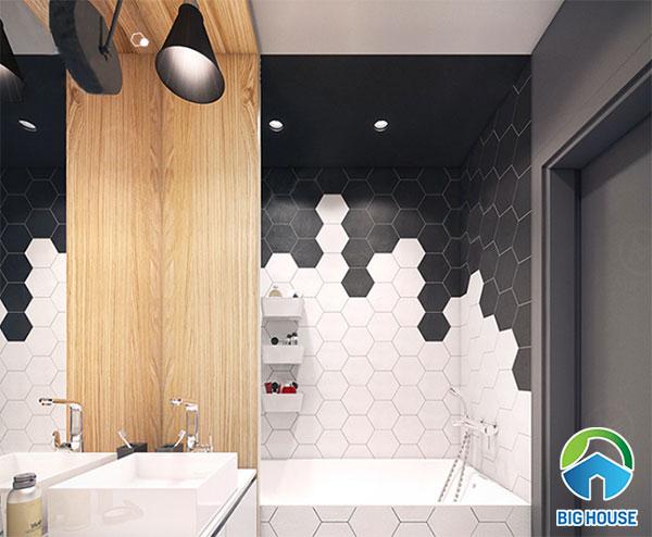 kết hợp gạch màu đen cùng gạch ốp tường màu trắng cho không gian nhà tắm
