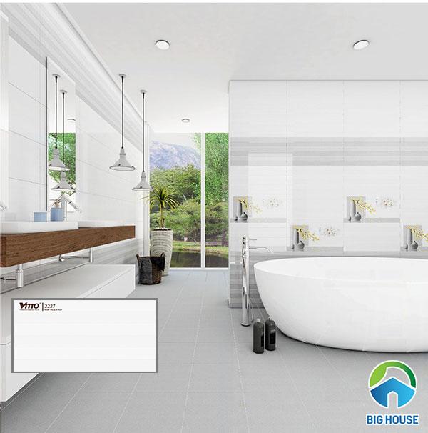 gạch ốp tường 30x60 màu trắng Vitto 2227