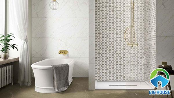 Gạch mosaic lục giác ốp tường nhà tắm