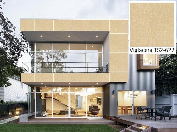 Gạch Viglacera TS2-622 màu vàng kem, bề mặt men bóng