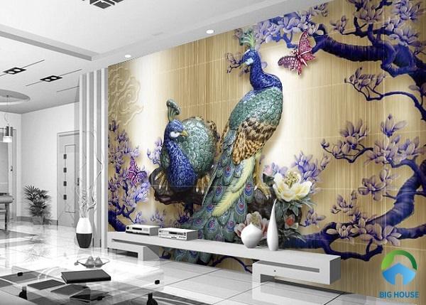 gạch tranh ốp tường phòng khách 3d