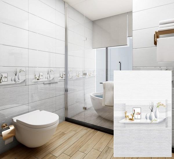 gạch ốp tường nhà vệ sinh màu xám trắng vitto 7608