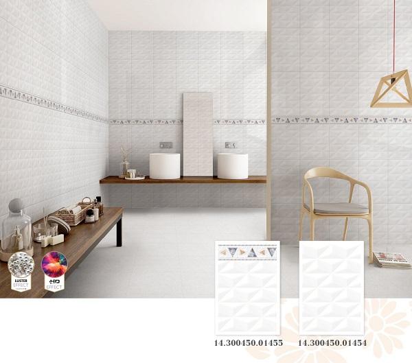 Bộ gạch ốp tường Prime 30x45 01455 màu trắng, ứng dụng hiệu ứng Luster
