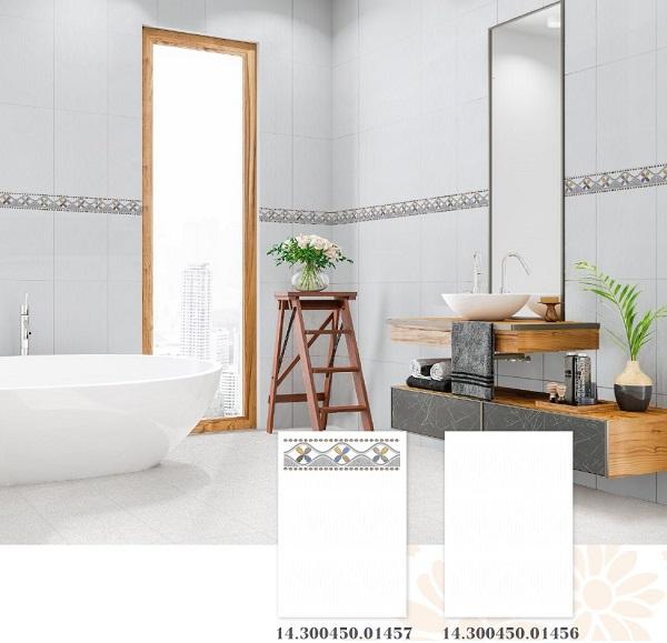 Bộ gạch Prime ốp tường màu trắng, men bóng 14.300450.01457 - 01456