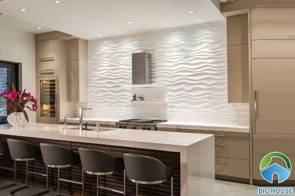 gạch ốp tường lượn sóng cho không gian nhà bếp