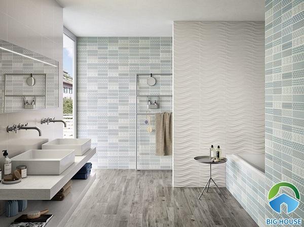 mẫu gạch ốp tường lượn sóng kết hợp cùng gạch thẻ màu xanh nhạt tươi mát