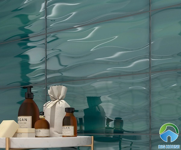 Mẫu gạch ốp tường 3D này tạo hiệu ứng rất sang trọng và nổi bật
