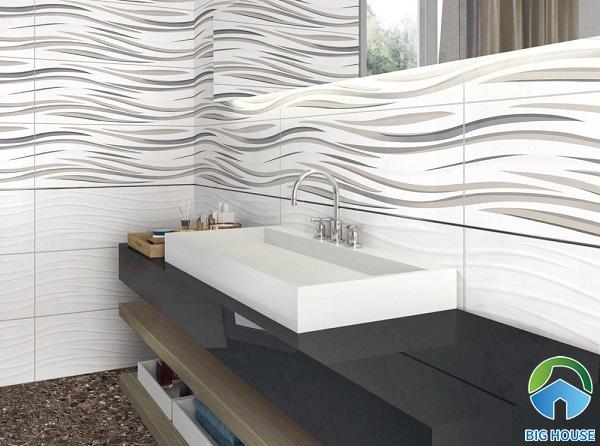 2 mẫu gạch ốp tường lượn sóng với sự đan xen họa tiết ấn tượng