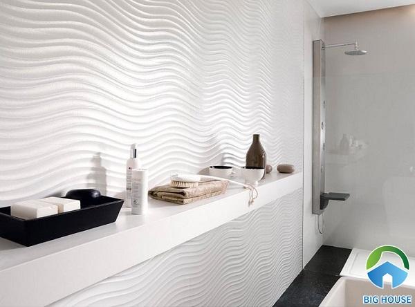 Mẫu gạch ốp lượn sóng tạo hiệu ứng 3D độc đáo cho phòng tắm