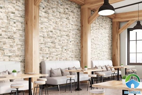 Gạch ốp tường giả cổ cho quán cafe phong cách cổ điển, đơn giản