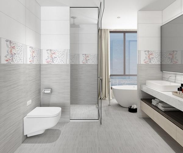 Bộ gạch Vitto 5074 ốp tường nhà vệ sinh nổi bật với họa tiết kẻ ngang, điểm hoa ly hồng