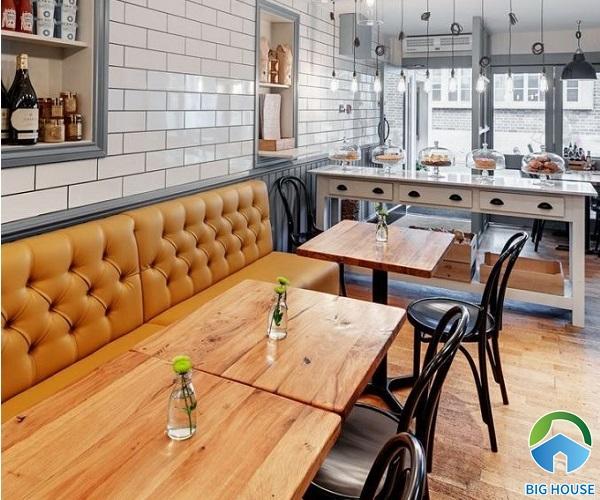 mẫu gạch thẻ trắng ốp tường quán cà phê tinh tế, trang nhã