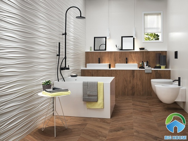 Mẫu gạch lượn sóng tạo chiều sâu cho không gian phòng tắm có diện tích nhỏ