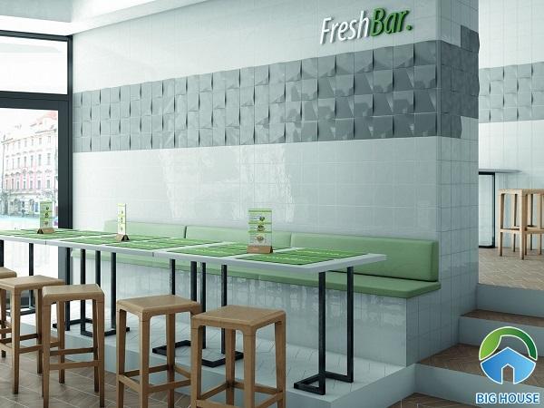 mẫu gạch ốp tường quán cà phê đẹp
