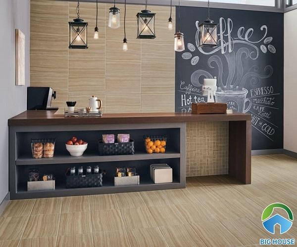 mẫu gạch ốp tường giả đá Onyx giúp quán cà phê trở nên ấn tượng hơn