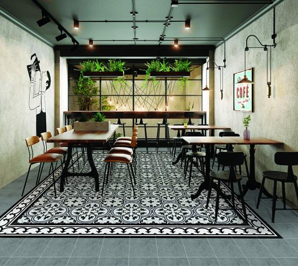 Gạch bông sử dụng để lát sàn quán cà phê với khả năng chịu lực tốt