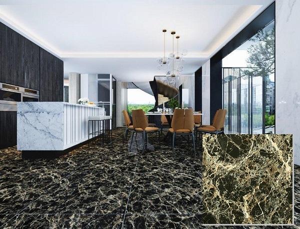Gạch vân đá màu đen Viglacera Eco D626 lát nền phòng khách hiện đại