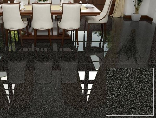 Gạch giả đá hoa cương màu đen Vento VT618 với bề mặt siêu bóng mang tính thẩm mỹ cao