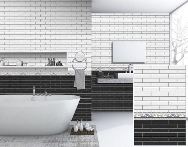 Mẫu gạch đen - trắng TATA2550-31 ốp phòng tắm