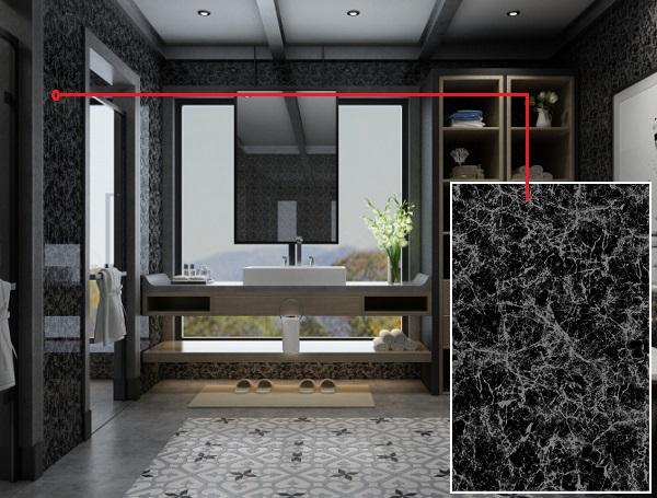 Mẫu gạch ốp tường nhà tắm vân đá Viglacera Q 2555 đẹp sang trọng