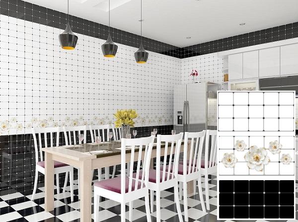 Bộ gạch ốp tường màu đen - trắng, điểm hoa TATA3635.36D.37