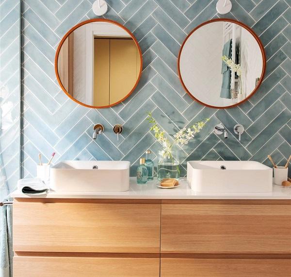 gạch ốp tường xương cá màu xanh xám cho không gian phòng tắm