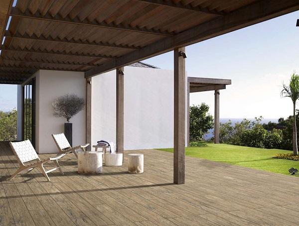 Mẫu gạch Viglacera PT21204 vân gỗ lát nền không gian ngoại thất