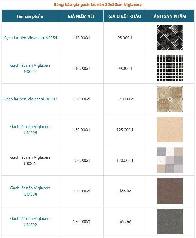 Bảng giá chi chiết khấu ưu đãi các mẫu gạch lát nền 30x30 Viglacera