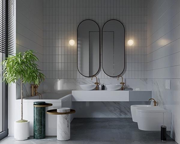 Dòng gạch thẻ ứng dụng phù hợp cho không gian nhà vệ sinh hiên đại