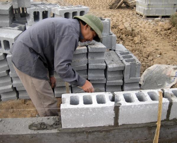 cách xây gạch block bê tông