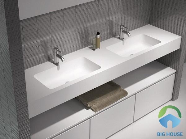 Chậu rửa mặt đôi thiết kế treo tường tiện lợi