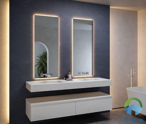 Mẫu bồn rửa mặt đôi âm bàn có kèm gương phù hợp cho nhà vệ sinh hiện đại