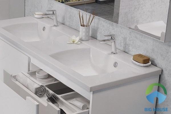 Mẫu lavabo đôi màu trắng trang nhã nhưng vẫn rất hiện đại