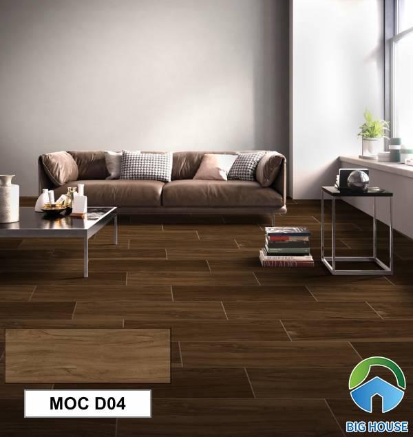 Gạch giả gỗ Eurotile MOC D04 tông màu nâu đậm tự nhiên trông giống như gỗ thật