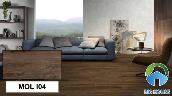 Gạch giả gỗ Eurotile MOL I04 với họa tiết vân gỗ chân thực