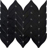 Gạch mosaic hình lá màu đen