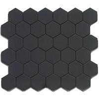 Gạch mosaic lục giác màu đen men mờ