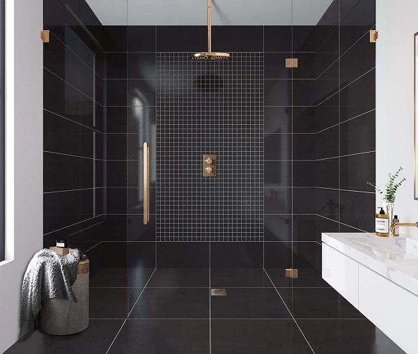 Gạch Mosaic hình vuông màu đen kích thước lớn đơn giản