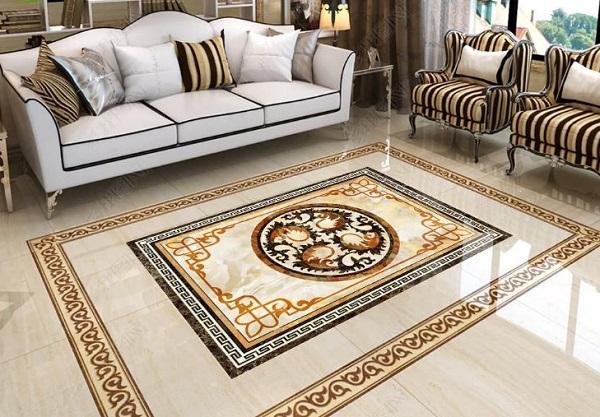 Các mẫu gạch thảm kích thước 60x60 được ghép lại với nhau thành một mẫu hoàn chỉnh