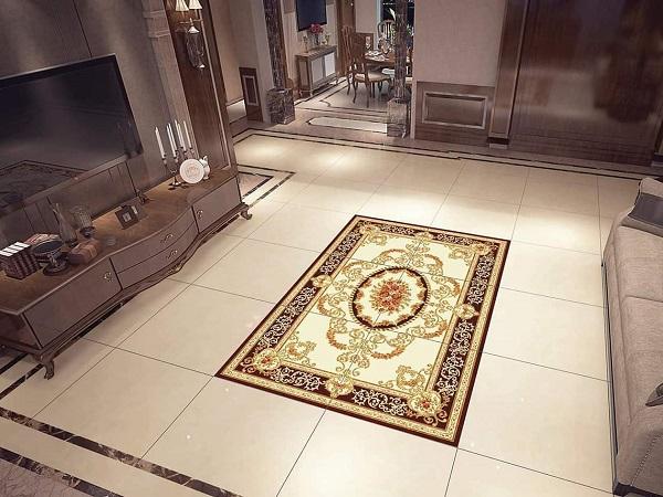 Mẫu gạch hoa văn lát nền phòng khách sang trọng và hiện đại