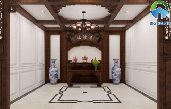 Chọn gạch thảm có họa tiết đơn giản cho không gian phòng thờ